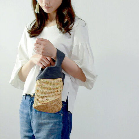 【母の日】中川政七商店|ラフィアとリネンの丸底ミニバッグ