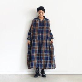 ichi Antiquités Linen Tartan Shirt Dress