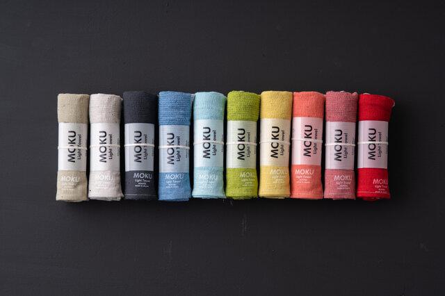 左から、カーキ、アーモンド、チャコールグレー、ブルー、アクア、ライムグリーン、レモン、マンダリン、マルーン、レッド