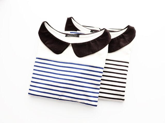 バスクシャツのような、ややハリのあるカットソー素材のプルオーバーです。 カラーは、ブルー×ブラックとブラック×ブラックの2種類。