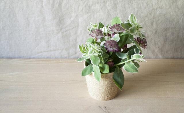 また、フラワーベースとして、小さな花やグリーンを飾っても素敵です。