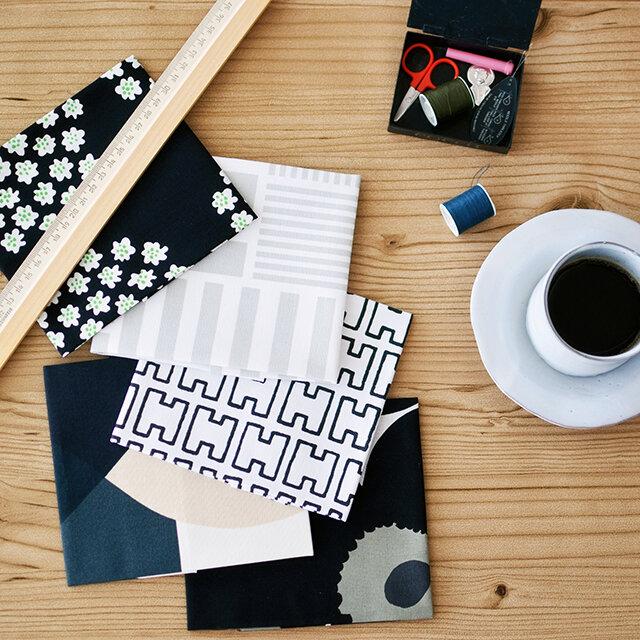 白黒を基調としたはぎればかりを5枚セットにした福袋です。 モノクロで、かっこよくモダンな印象の生地ばかり。シックなデザインがお好きな方におすすめです。