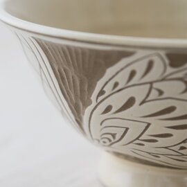 育陶園|やちむん 白魚文線彫 マカイ(茶碗・丼)