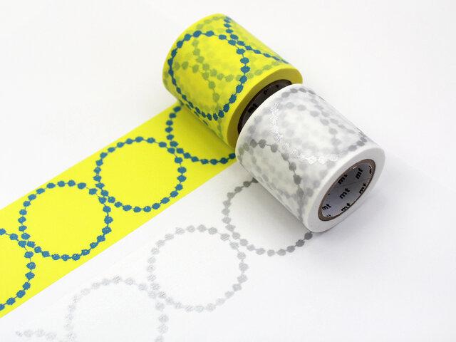 minaperhoneの代表作ともいえるテキスタイル「tambourine」が幅48cmとワイドなサイズのマスキングテープになりました。