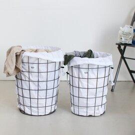 PUEBCO|WIRE BASKET WITH PLAIN LAUNDRY BAG