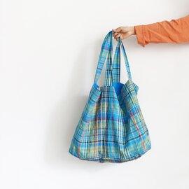 ichi Antiquités|Linen Colorful Check Bag