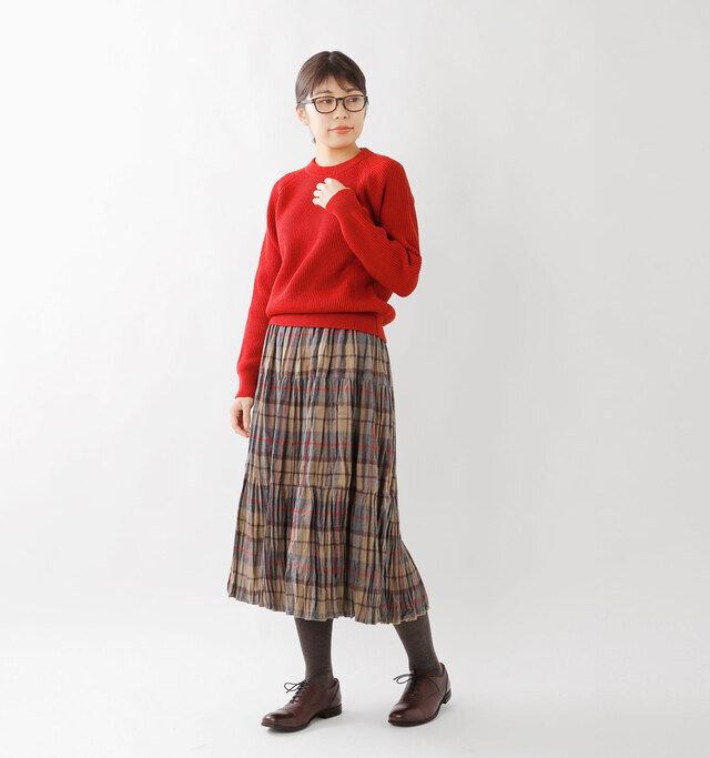 model hikari:165cm / 48kg color : beige×gray / size : S