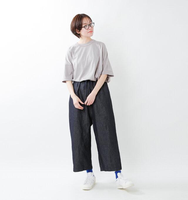 model saku:163cm / 43kg  color : indigo / size : S