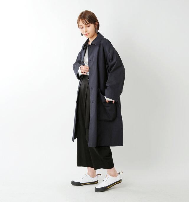 model yama:167cm / 49kg color : navy / size : 0