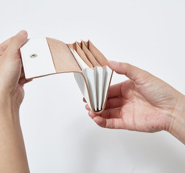 中は、じゃばら式の作りになっていて3部屋の収納があり、多くのカードを収めるこができます。