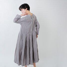 Gauze# 2wayガーメントダイリネン ストリングタックワンピースドレス g600-yn【21ss】