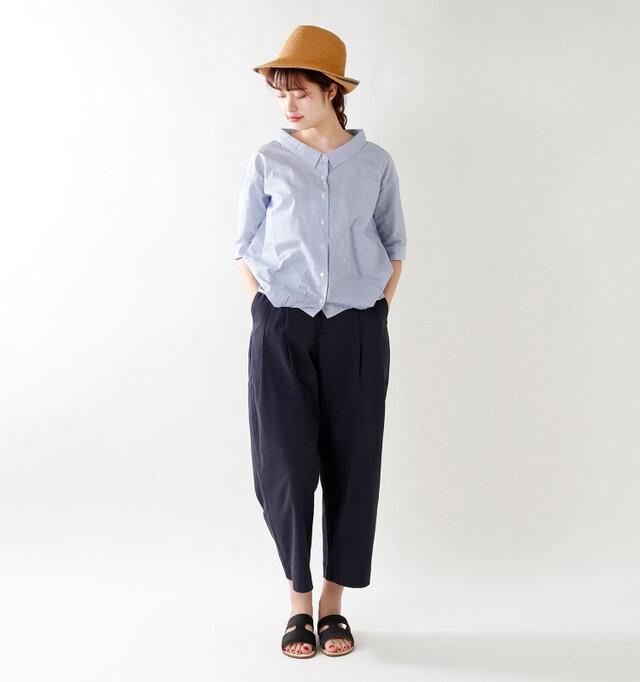 model kanae:167cm / 48kg color : blue stripe / size : S
