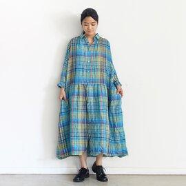 ichi Antiquités|ONLINE限定 Linen Colorful Check Shirt Dress