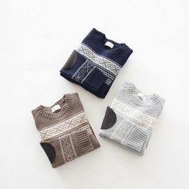 soglia エルボーパッチ クルーネックニット ノルディックパターン セーター LANDNOAH sweater Fair Isle ウール ニット プルオーバー フェアアイル ソリア