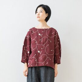 TUTIE.|リネン総柄刺繍タックスリーブブラウス