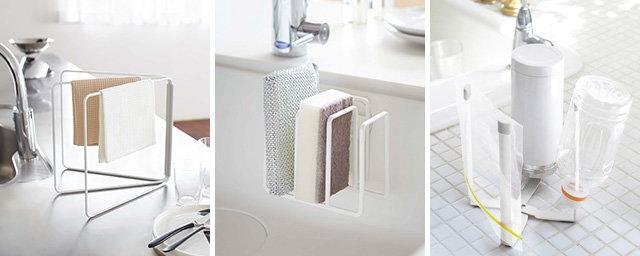 【Plate/Kitchen】 左から順に ・Folding Dishcloth Hanger (折り畳み布巾ハンガー) ・Sponge Holder (吸盤スポンジホルダー3連) ・Holder & Stand (ホルダー&スタンド)