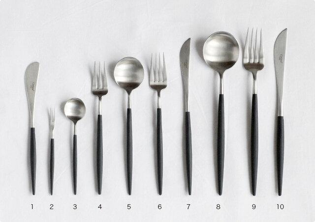 1.バターナイフ 2.フルーツフォーク 3.ティースプーン 4.ペストリーフォーク 5.デザートスプーン 6.デザートフォーク 7.デザートナイフ 8.テーブルスプーン 9.ディナーフォーク 10.ディナーナイフ