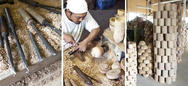 石川県の「山中」といえば、木工ろくろの一大産地です。 木地が透ける程に薄い『薄挽き』や、木地の表面に鉋を当てて細かい模様を付ける『加飾挽き』など独自の技術を保有し、他産地の追随を許さぬものがあります。 MokuNejiシリーズは、そんな山中漆器産地で培われてきた木工ろくろの高い技術と、精緻なネジ切りの技術を使った「工芸」×「工業」の新しいプロダクトシリーズです。 すべての製品に、木目の美しい天然木を使用しています。
