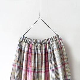 ichi Antiquités|Linen Colorful Check Skirt