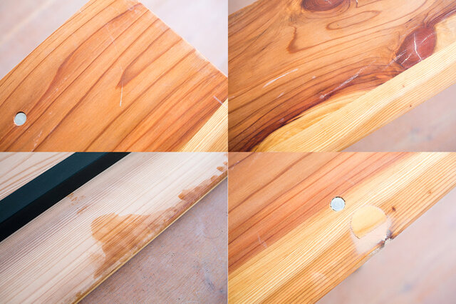 ※輸送時の梱包も含めラフな家具です。新品未使用品ですが、画像のような傷や汚れ、裏面の塗装染み、木部の割れなどが各所にみられます。あらかじめご了承ください。