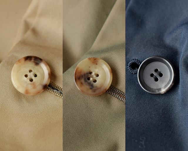 それぞれの生地に合うボタンをセレクト。単色ではない、味わい深い色合いのボタンです。