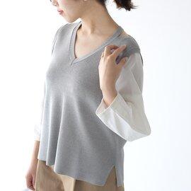 MARECHAL TERRE|ニット ブラウス Knit blouse Vネック 切り替えし プルオーバー トップス ZMT201KN328 マルシャル テル