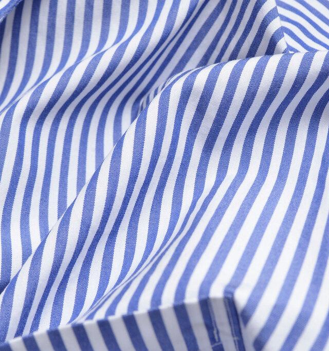 cotton 100%  高密度で薄手の清涼感のあるコットン生地。ハリがあり、さらりとした肌触り。爽やかなストライプ柄。