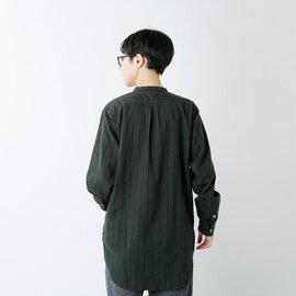 Yarmo|コットンフランネルストライプバンドカラーシャツ yar-20aw-s1-yn