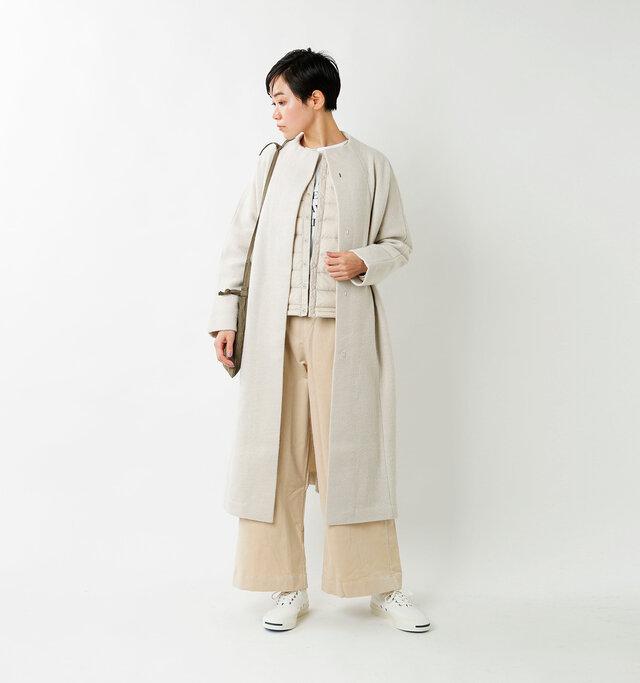 model saku:163cm / 43kg color : oyster white / size : 34