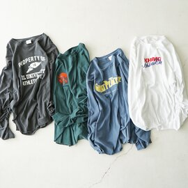 kha:ki|ピグメント加工 プリント Tシャツ ロンT カットソー MIL-21FCS285 カーキ