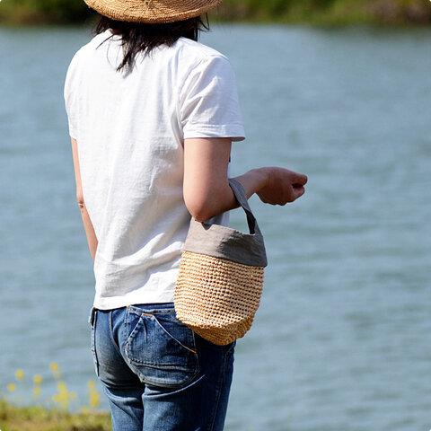 【今季販売終了】中川政七商店|ラフィアとリネンの丸底ミニバッグ