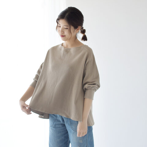 kha:ki|コットン ハニカムサーマル ワイドシルエットカットソー WIDE THERMAL TOPS Tシャツ 7分袖 トップス MIL-20HCS183 カーキ