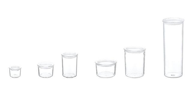 左から S浅型、M浅型、M深型、L浅型、L深型、パスタキャニスター