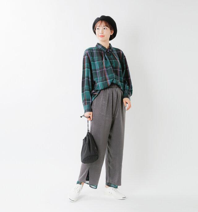model mizuki:168cm / 50kg  color : green check×gray / size :M