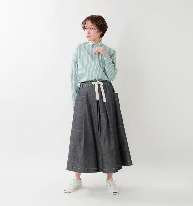 model saku:163cm / 43kg  color : denim / size : 36