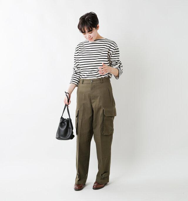 model saku:163cm / 43kg color : ecru×noir / size : 5