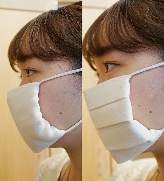 (左)「あんしんガーゼ」でつくるマスク (右)「さらし木綿」でつくるマスク