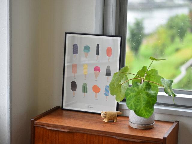 子どもたちが美味しいアイスクリームで色を学ぶ。子供部屋に飾るためにデザインされた1枚です。ゆるい空気が漂っていて、思わず笑顔になれる優しいデザインですね。