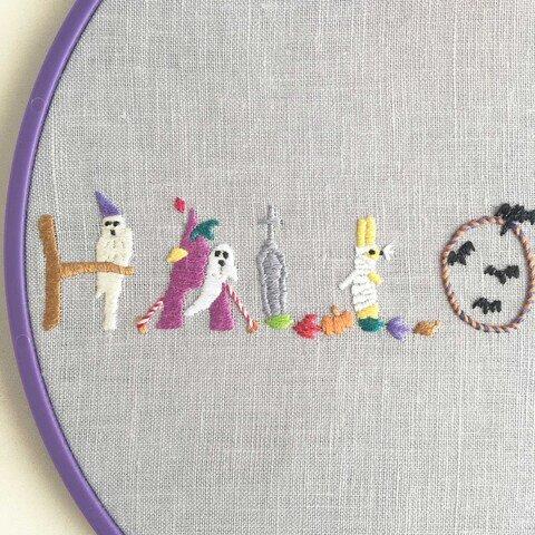 クロヤギシロヤギ ハロウィンの刺繍図案
