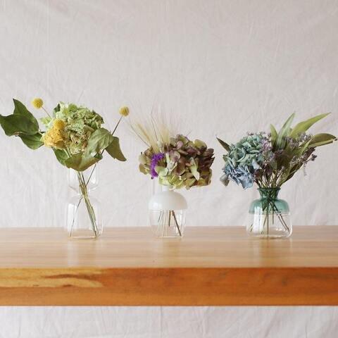 土と風の植物園|[ドライフラワーとフラワーベースのセット]紫陽花・ユーカリ・スターチス<み空色>