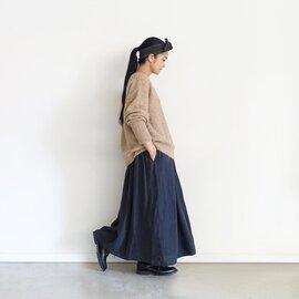 ichi Antiquités Linen AZUMADAKI Stripes Skirt