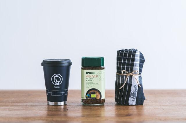 [セット内容] ・イヤマ インスタントコーヒー ボトル ・モバイルタンブラー ・キッチンタオル(ホワイト、ブラックからお選びいただけます)