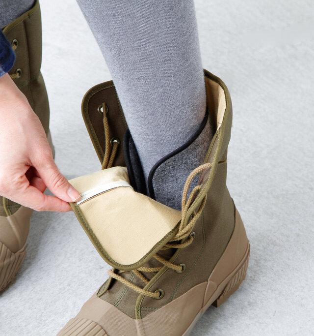 靴内部には防寒性に優れたインナーソックスが装備され、冷えを徹底的にガードしてくれます。 着脱できる作りになっているので、取り外してお洗濯することも可能です。いつでも清潔に保てるのが嬉しいですね。インナーソックスを外すと、サイズが約1cm大きくなります。 チクチクしない優しい肌触りで履き心地もgood!足首までしっかり暖めてくれますよ。
