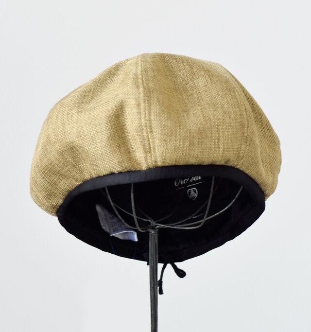 カジュアルな雰囲気漂うラフィア風ベレー帽。ラフィアライクな仕上がりのポリ素材となっています。