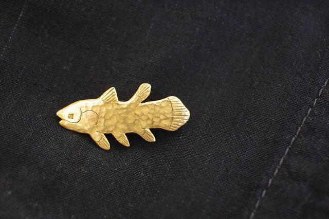 凹凸感がシーラカンスの鱗のよう。ロマンチックな古代魚を胸元やバッグにつけて。