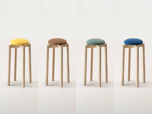 SH:550mm カラー(左から):イエロー、ブラウン、モスグリーン、ブルー