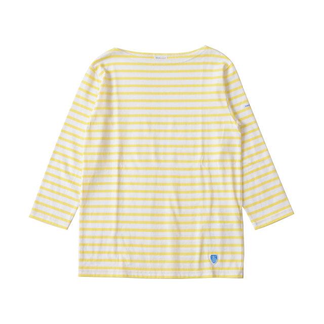 color : white/lt.yellow(col.133)  カラーは爽やかなマリンの雰囲気を漂わせる、豊富な全13色のボーダー柄をご用意しています。