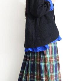 ichi Antiquités|Linen Tartan Shirt Skirt