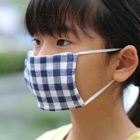 こども用マスク(ギンガムチェック) 今治製ガーゼマスク/日本製【メール便】