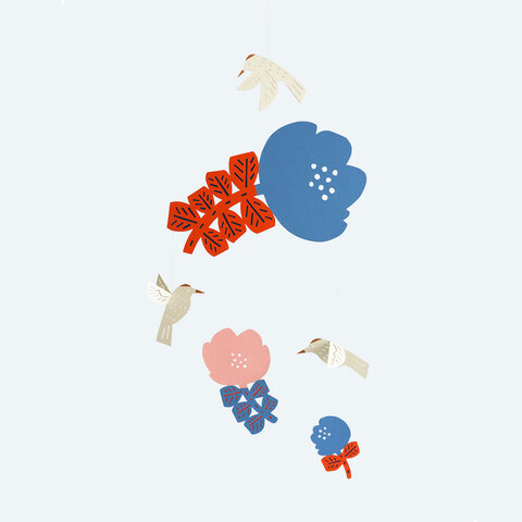 Manu Mobiles|kata kata 花とハチドリのモビール[出産祝い]